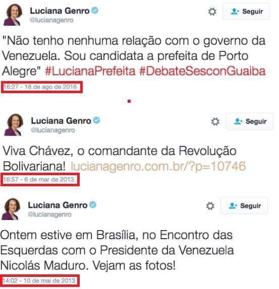 Luciana Genro apoiando a Venezuela, e depois dizendo que não tem nada a ver, só concorre a Porto Alegre.