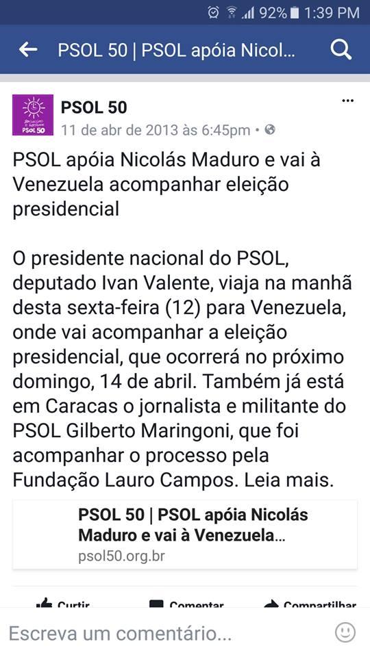 PSOL posta defesa de ditador Nicolás Maduro da Venezuela no Facebook.
