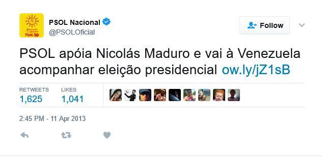 PSOL posta defesa de ditador Nicolás Maduro da Venezuela no Twitter