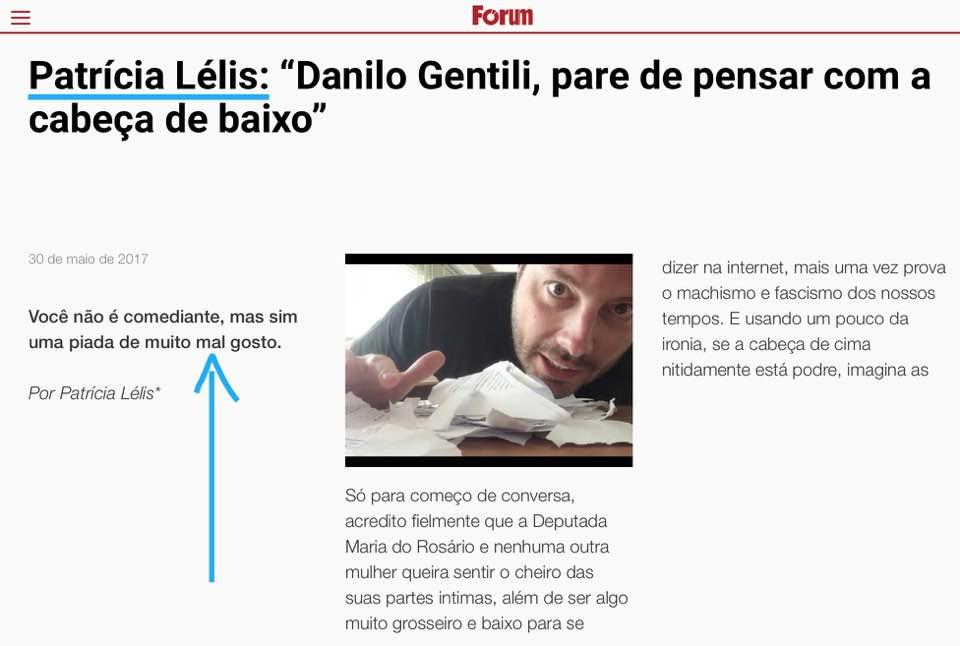 Revista Fórum - Patrícia Lellis diz que Danilo Gentili é de mal gosto