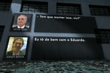 Joesley Batista e Michel Temer, no Jornal Nacional