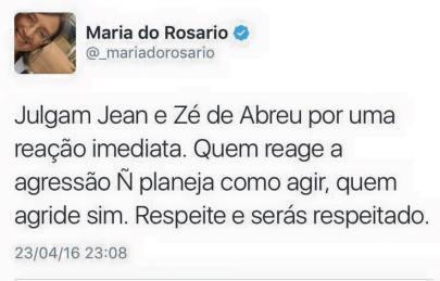 Maria do Rosário - cuspe de José Dirceu e Jean Wyllys