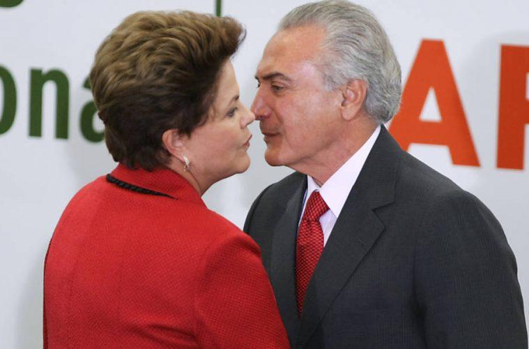Michel Temer beija Dilma Rousseff