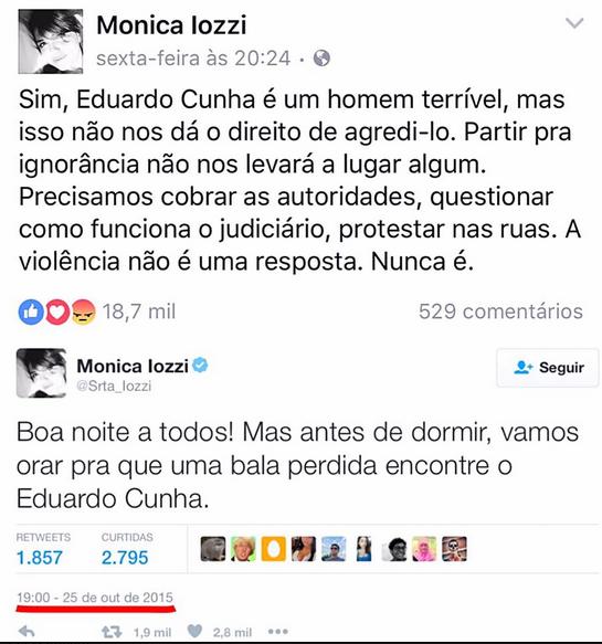 Mônica Iozzi pede uma bala na cabeça de Eduardo Cunha