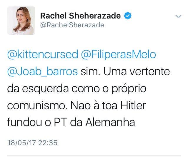 Rachel Sheherazade Twitter nazismo Hitler fundou o PT da Alemanha