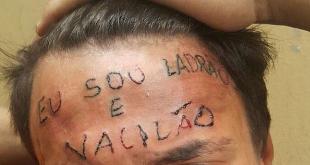"""Jovem com testa tatuada: """"Eu sou ladrão e vacilão"""""""
