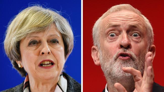 Theresa May e Jeremy Corbyn, candidatos a primeiro ministro