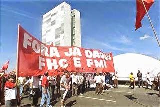 """""""Fora FHC e o FMI!"""" Protesto do PT nos anos 90"""