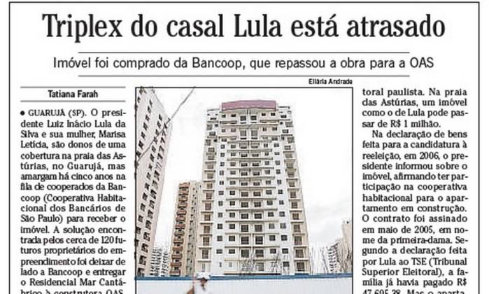 Reportagem d'O Globo de 2010 sobre o triplex no Guarujá de Lula