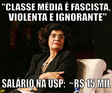 Marilena Chaui odeia a classe média. Salário na USP. R$ 15 mil