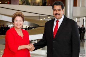 Dilma Rousseff e Nicolás Maduro, ditador da Venezuela