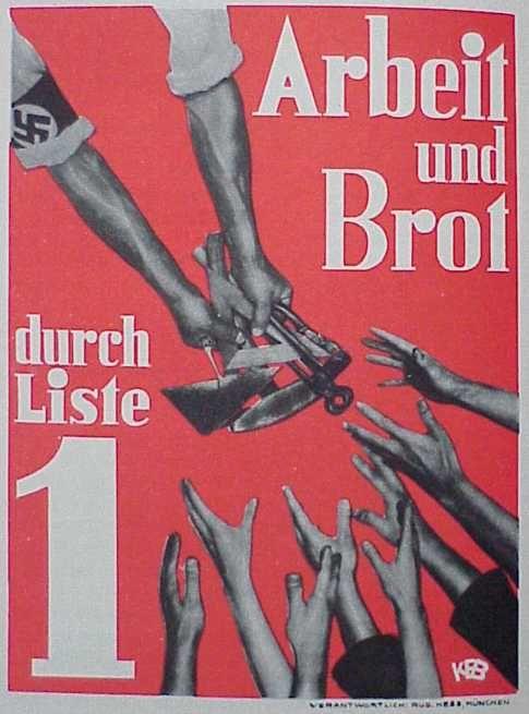 """Poster nazista sobre """"trabalho e pão por lista"""""""