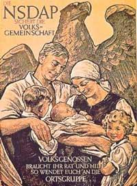 Propaganda social nazista com família alemã