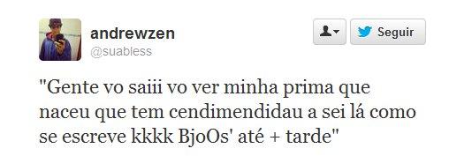 "Tweet - prima com ""cendimendidau"" (Síndrome de Down)"