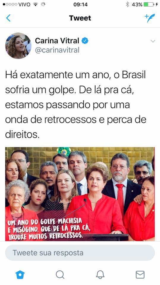 "Carina Vitral, ex-presidente da UNE no Twitter: ""Perca de direitos"""