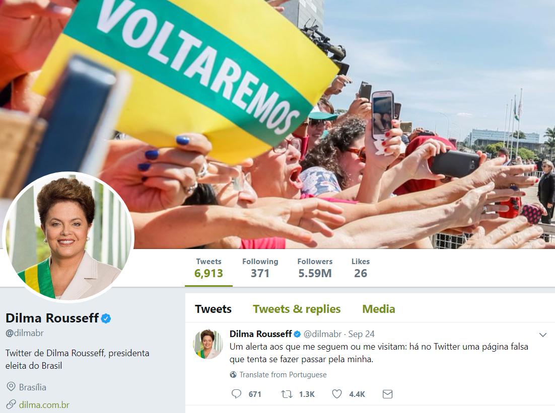 Dilma Rousseff reclama de perfil satírico fake no Twitter
