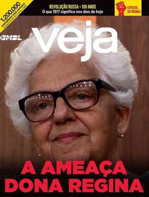 """Dona Regina - capa da VEJA, pelo MBL - """"A ameaça Dona Regina"""""""