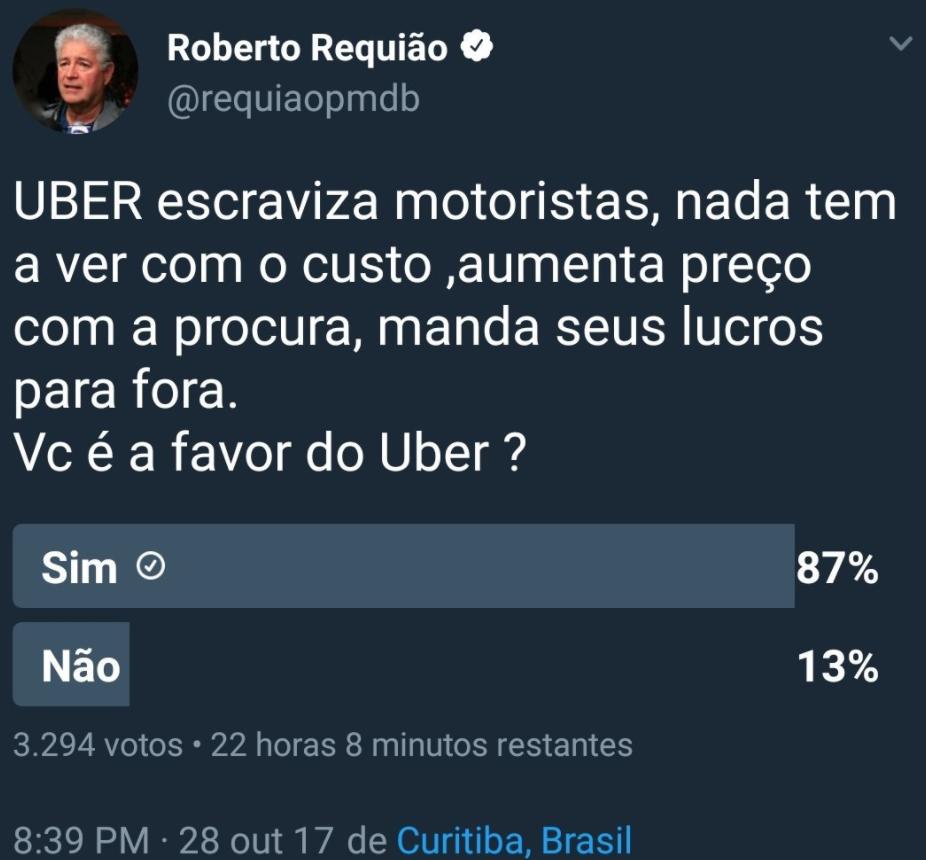 Roberto Requião chama UBER de trabalho escravo em enquete no Twitter