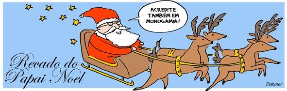 Tirinha dos Malvados com Papai Noel negando a monogamia