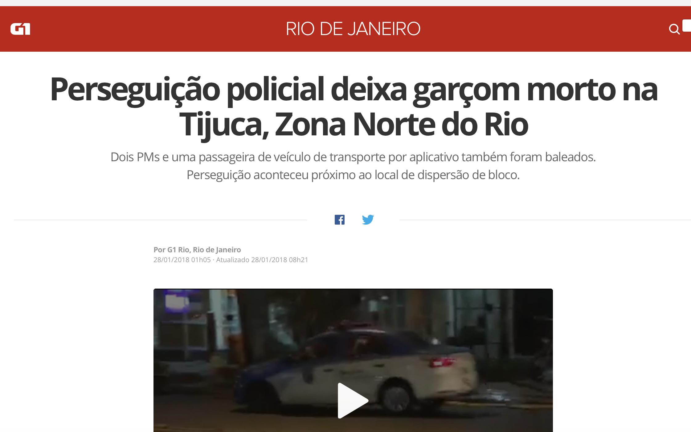 """No G1, """"perseguição policial"""" deixa garçom morto"""