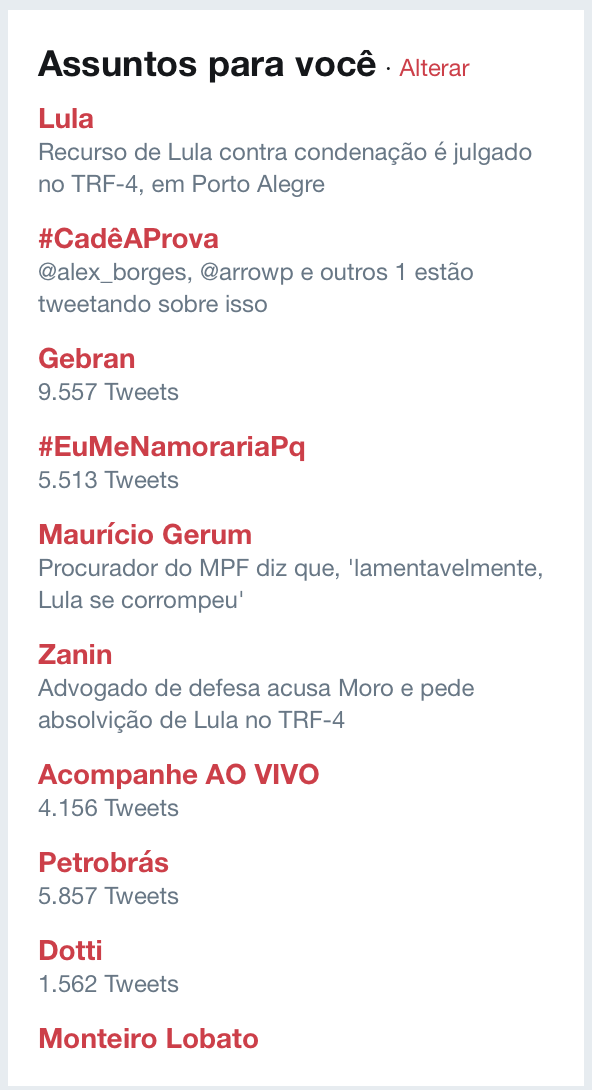 Hashtag LulaNaCadeia some dos Trending Topics do Twitter