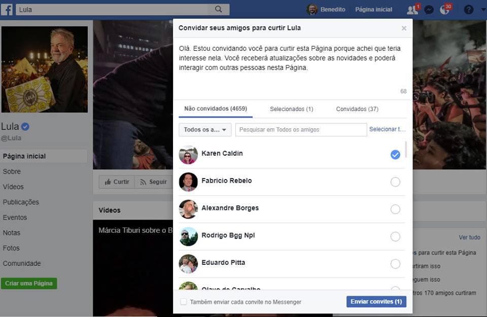 Facebook permite convites para curtir a página de Lula, mas não de Bolsonaro