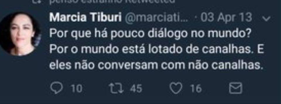 Márcia Tiburi no Twitter pedindo diálogo com canalhas