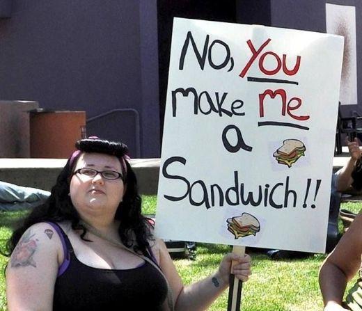 Feminista gorda querendo um sanduíche