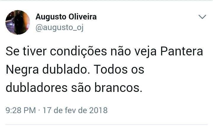 Pantera Negra - dubladores brancos. Twitter