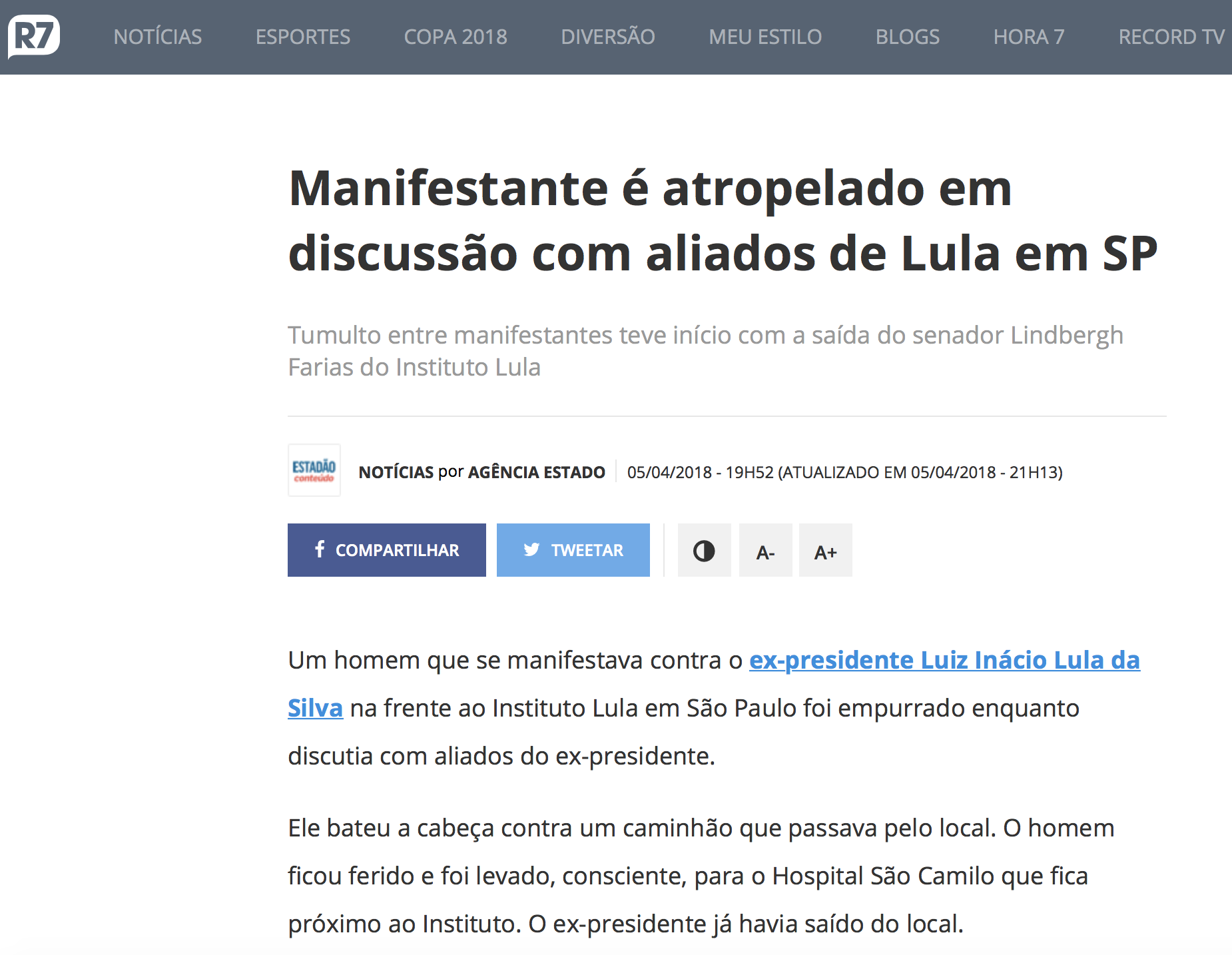 R7 da Rede Record sobre tentativa de homicídio no Instituto Lula