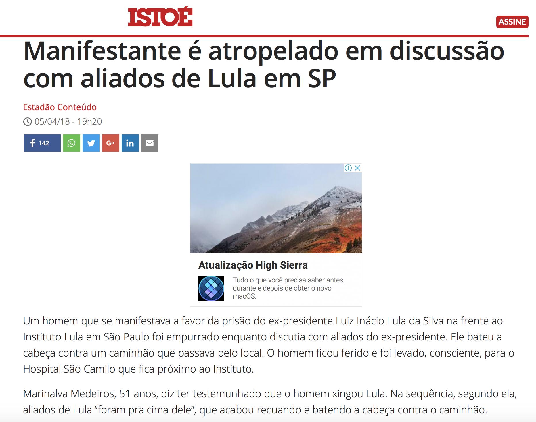 Istoé fala que homem foi atropelado em frente ao Instituto Lula
