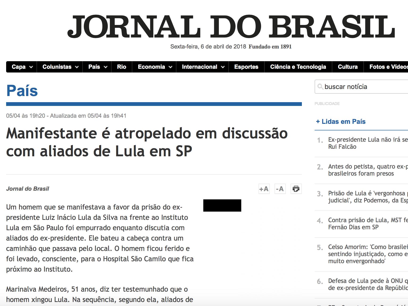 """Jornal do Brasil diz que """"discussão"""" fez homem """"bater a cabeça"""" em caminhão"""