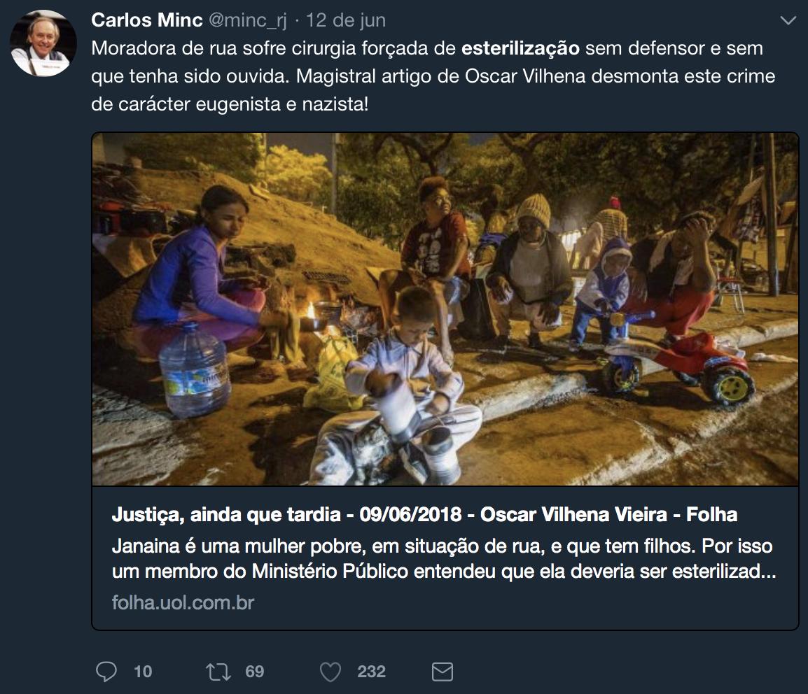 """Ex-ministro Carlos Minc espalha fake news sobre """"esterilização forçada"""" e chama a idéia de nazista"""