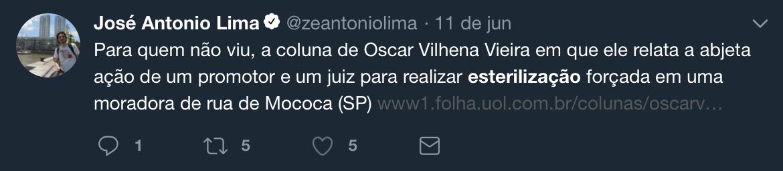 """Jornalista José Antonio Lima espalha fake news sobre """"esterilização forçada"""""""