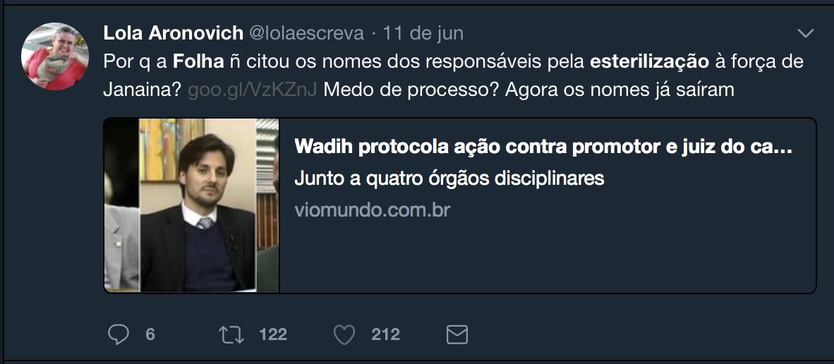 """Feminista Lola Aronovich espalha fake news sobre """"esterilização forçada"""""""
