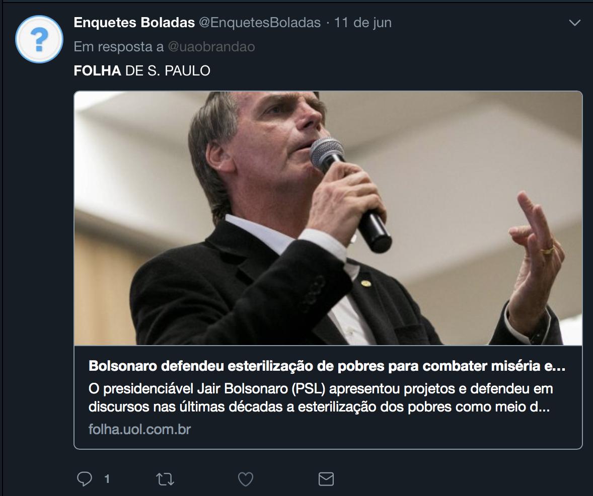 Enquete sobre esterilização forçada envolve nome de Jair Bolsonaro