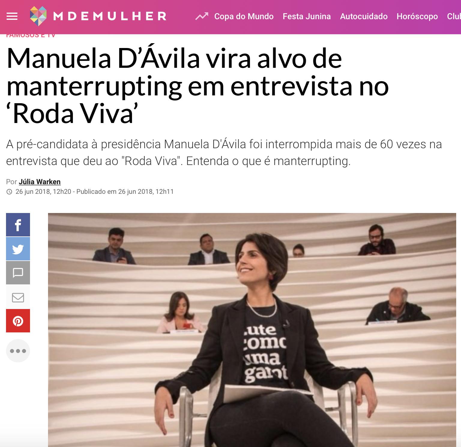 Manuela d'Ávila em revista feminina da Abril