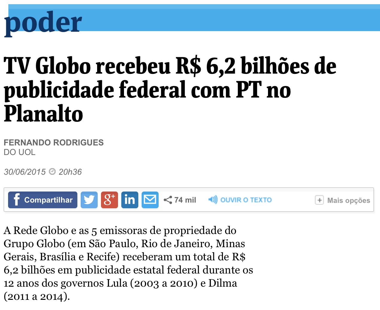Folha: Globo recebeu R$ 6,2 bilhões de publicidade federal com PT no Planalto