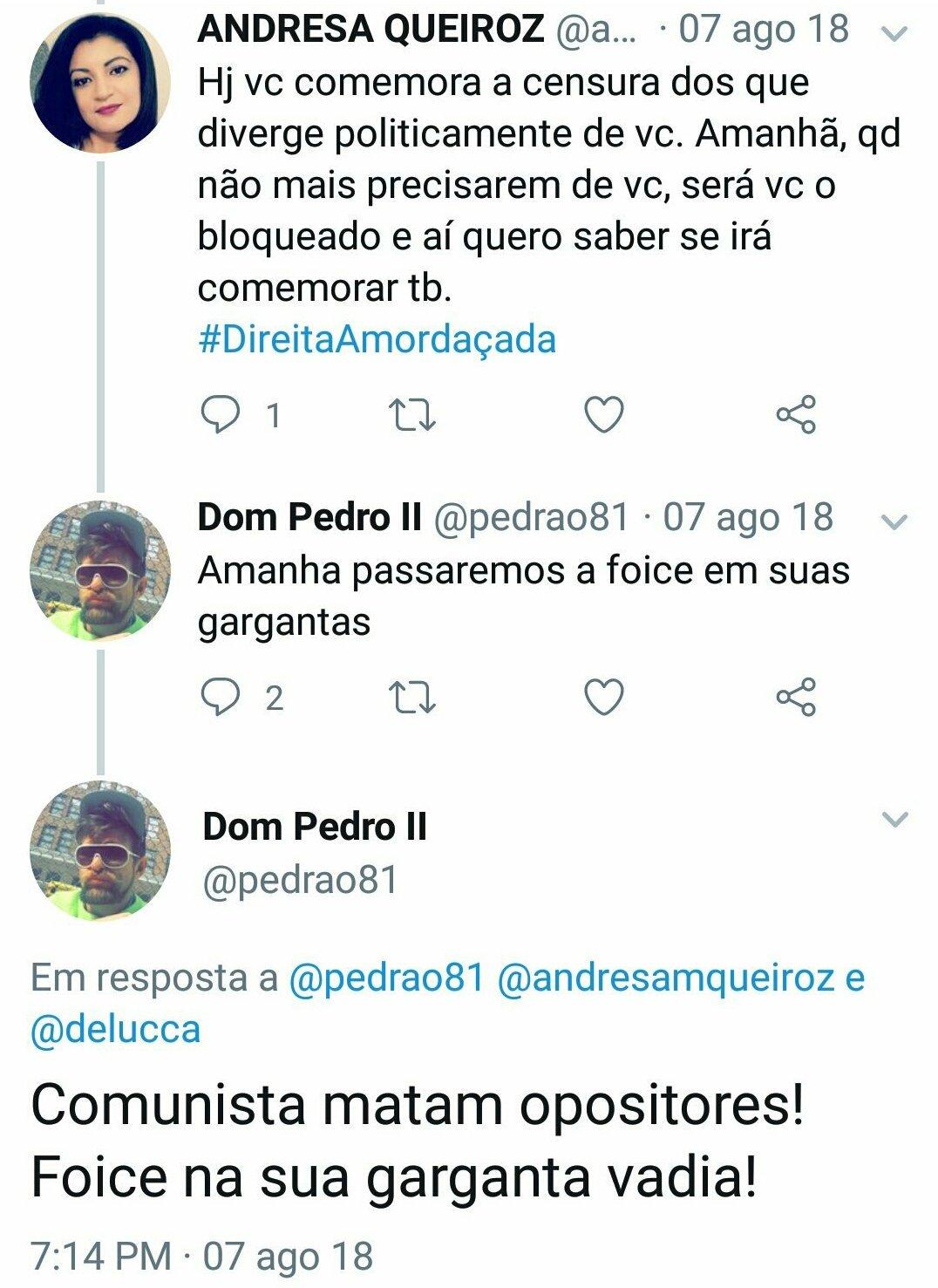 Tweet de esquerdista ameaçando cortar gargantas no Twitter. Via @odiodobem