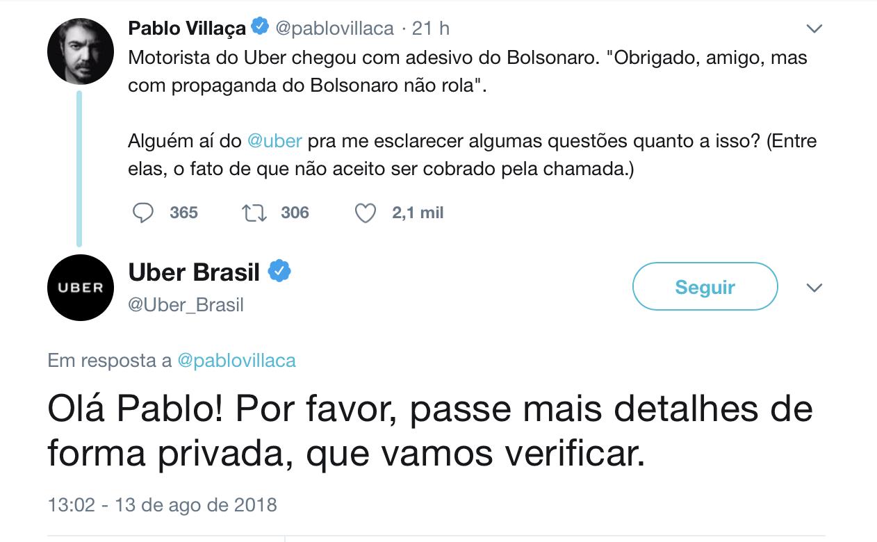 Pablo Villaça motorista Uber adesivo Bolsonaro