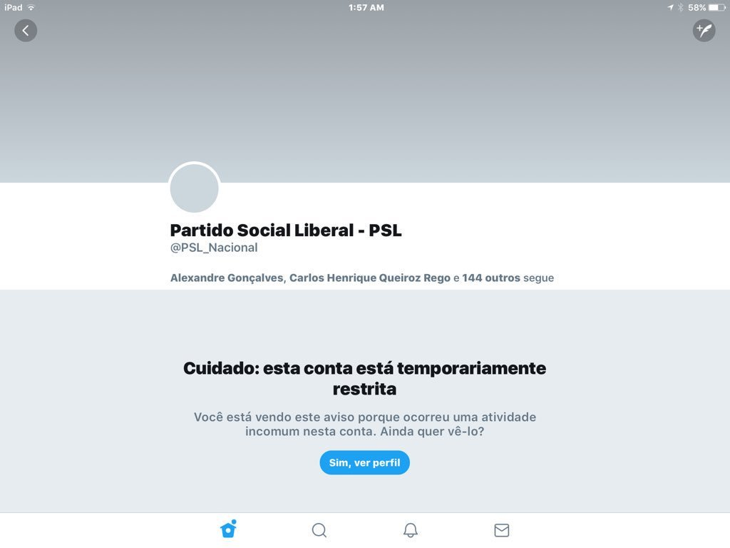 PSL conta suspensa no Twitter