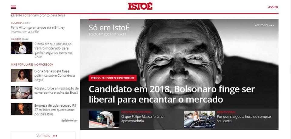 Istoé usa imagem demoníaca de Bolsonaro