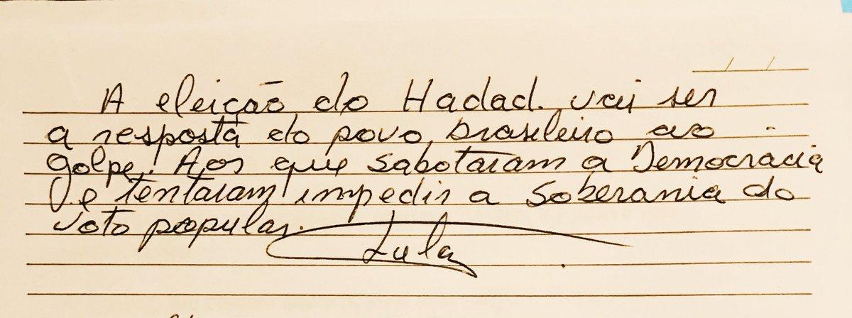 Lula escreve bilhete para Fernando Haddad. É sério esse bilhete.