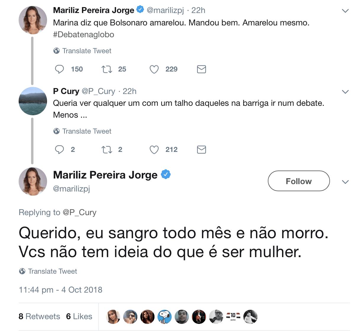 Jornalista Folha Mariliz Pereira Jorge facada Bolsonaro menstruação