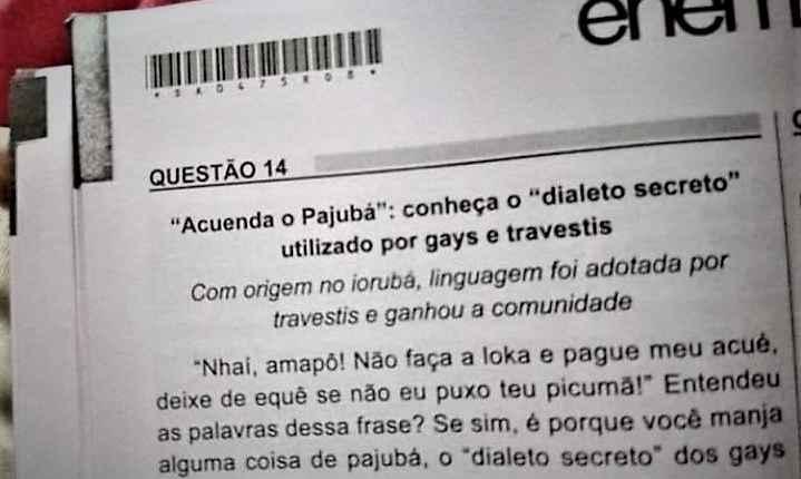Pajubá ENEM dialeto travestis