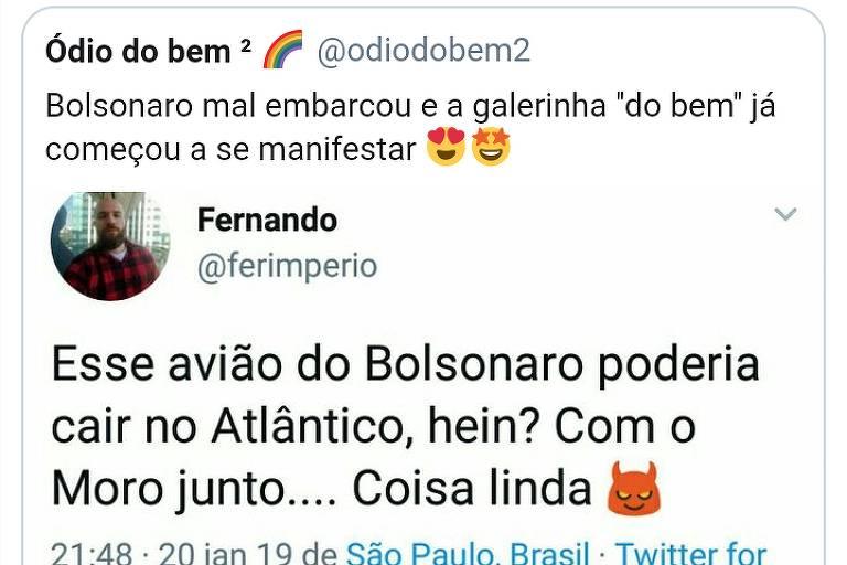 """Folha trata como """"brincadeira"""" tweet falando em avião de Bolsonaro e Moro cair no Atlântico"""