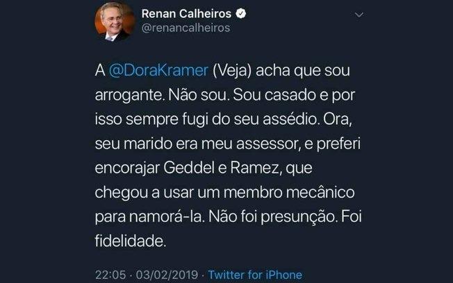Renan Calheiros Dora Kramer Twitter