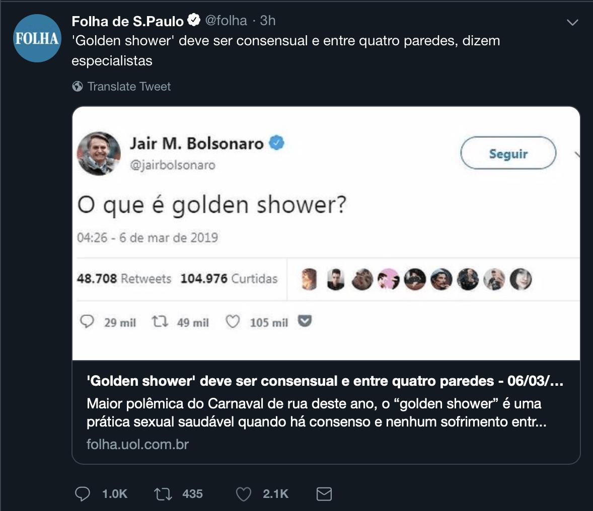Folha chama especialistas em Golden Shower