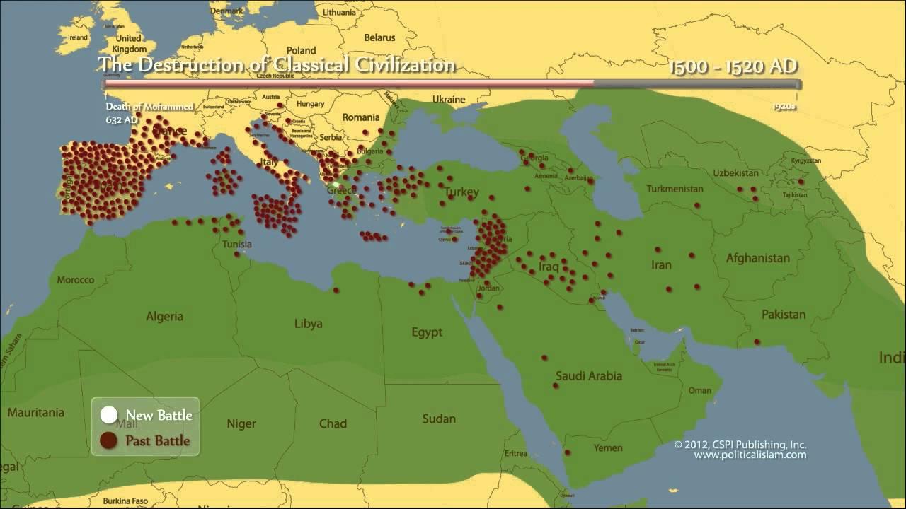 Mapa das conquistas árabes