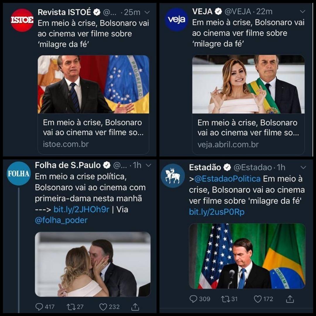mídia lixo mente sobre Bolsonaro ir ao cinema com Michelle